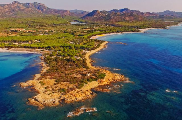 Aerial view of Cala Ginepro in Sardinia