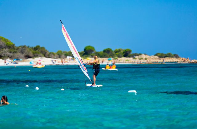 Windsurf rental at Camping Cala Ginepro, in the pristine waters of Sardinia